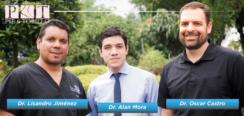 Miembros de AOFAS: Dr. Allan Mora, Dr. Lisandro Jiménez, Dr. Oscar Castro